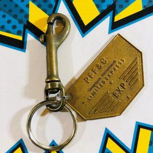 Vintage 80's Express brass keychain